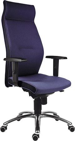 """Főnöki szék,magas háttámlával,szövetborítás, alumínium lábkereszt, """"1824 Lei"""", kék"""