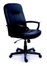 """MAYAH Főnöki szék, hintamechanikával, fekete bonded bőrborítás, fekete lábkereszt, MAYAH """"Boss"""""""