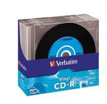 """VERBATIM CD-R lemez, bakelit lemez-szerű felület, AZO, 700MB, 52x, vékony tok, VERBATIM """"Vinyl"""""""