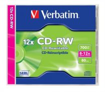 VERBATIM CD-RW lemez, újraírható, SERL, 700MB, 8-12x, normál tok, VERBATIM