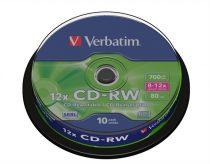 VERBATIM CD-RW lemez, újraírható, SERL, 700MB, 8-10x, hengeren VERBATIM