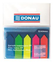 DONAU Jelölőcímke, műanyag, nyíl forma, 5x25 lap, 12x45 mm, DONAU, neon szín