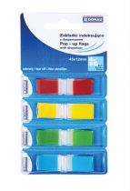 DONAU Jelölőcímke, műanyag, 4x35 lap, 12x45 mm, DONAU, vegyes szín