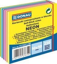 DONAU Öntapadó jegyzettömb, 50x50mm,250 lap, DONAU,  neon és pasztell színek