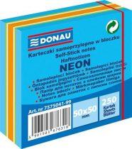 DONAU Öntapadó jegyzettömb, 50x50mm, 250 lap, DONAU, neon színek