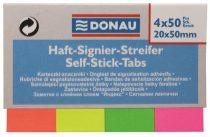 DONAU Jelölőcímke, papír, 4x50 lap, 20x50 mm, DONAU, vegyes szín