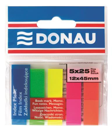 DONAU Jelölőcímke, műanyag, 5x25 lap, 12x45 mm, DONAU, neon szín