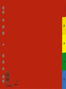 DONAU Regiszter, műanyag, A4, 1-5, DONAU, színes