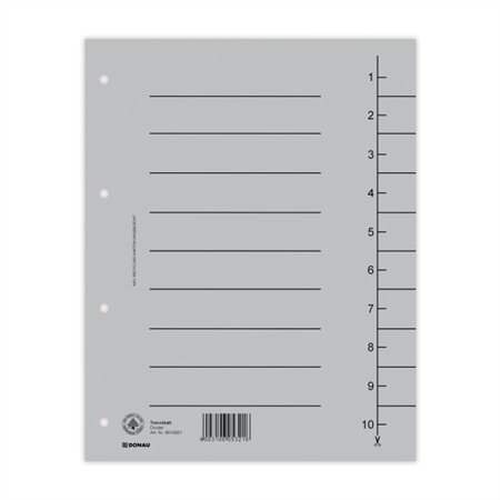 DONAU Regiszter, karton, A4, DONAU, szürke