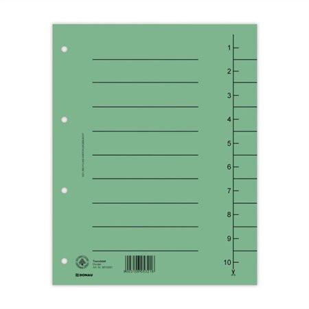 DONAU Regiszter, karton, A4, DONAU, zöld