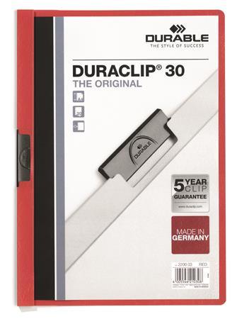 "DURABLE Gyorsfűző, klipes, A4, DURABLE ""DURACLIP® 30"", piros"