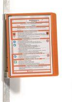 """DURABLE Bemutatótábla tartó, fali, mágneses, 5 db bemutatótáblával, DURABLE """"VARIO® 5 MAGNET"""", narancssárga"""