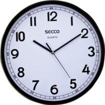"SECCO Falióra, 30 cm,  fekete keretes, SECCO ""Sweep second"""