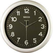 "SECCO Falióra, 30 cm,  fekete számlap,SECCO ""Sweep Second"", ezüst keret"