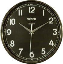 SECCO Falióra, 24 cm, fekete számlap,   SECCO, króm színű keretes