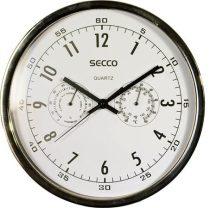 SECCO Falióra, 30 cm, páratartalom mérővel, hőmérővel,fehér számlap, SECCO, króm keret