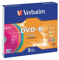 VERBATIM DVD-R lemez, színes felület, AZO, 4,7GB, 16x, vékony tok, VERBATIM