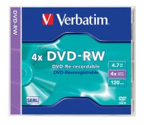 VERBATIM DVD-RW lemez, újraírható, 4,7GB, 4x, normál tok, VERBATIM