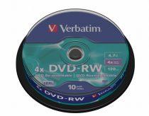 VERBATIM DVD-RW lemez, újraírható, 4,7GB, 4x, hengeren, VERBATIM