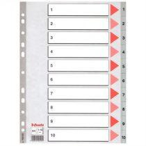 ESSELTE Regiszter, műanyag, A4, 1-10, ESSELTE,szürke