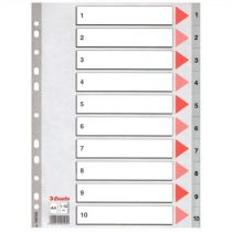 ESSELTE Regiszter, műanyag, A4, 1-10, ESSELTE, szürke