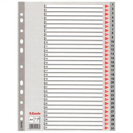 ESSELTE Regiszter, műanyag, A4, 1-31, ESSELTE, szürke