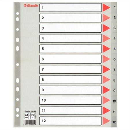 ESSELTE Regiszter, műanyag, A4 Maxi, 1-12, ESSELTE, szürke