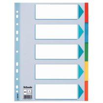 """ESSELTE Regiszter, karton, A4, 5 részes, írható előlappal, ESSELTE """"Standard"""", színes"""