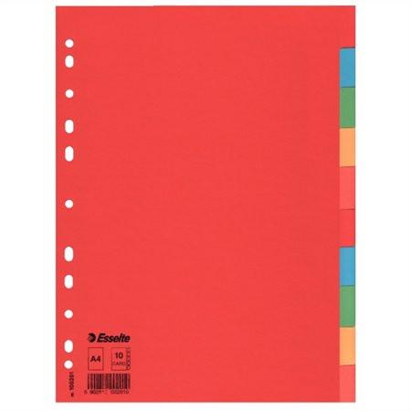 """ESSELTE Regiszter, karton, A4, 10 részes, ESSELTE """"Economy"""", színes"""