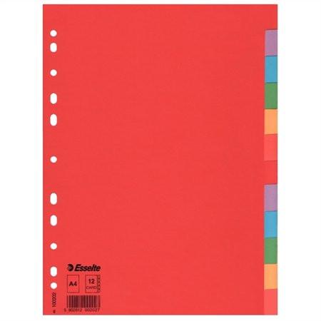 """ESSELTE Regiszter, karton, A4, 12 részes, ESSELTE """"Economy"""", színes"""