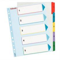 ESSELTE Regiszter, laminált karton, A4 maxi, 1-5, újraírható, ESSELTE