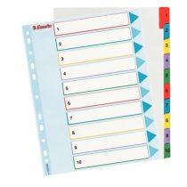 ESSELTE Regiszter, laminált karton, A4 Maxi, 1-10, újraírható, ESSELTE