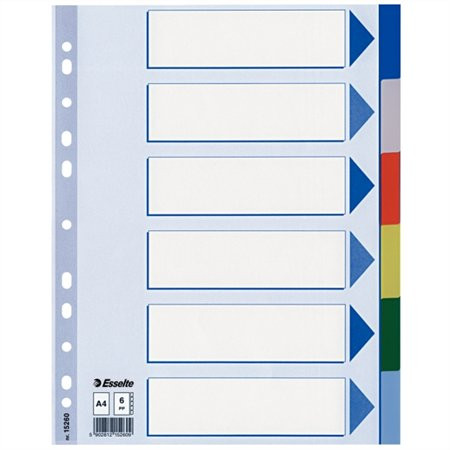 ESSELTE Regiszter, műanyag, A4, 6 részes, ESSELTE