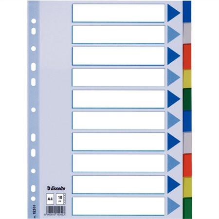 ESSELTE Regiszter, műanyag, A4, 10 részes, ESSELTE