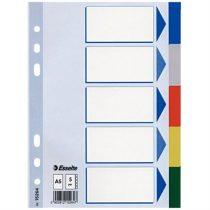 ESSELTE Regiszter, műanyag, A5, 5 részes, ESSELTE, színes
