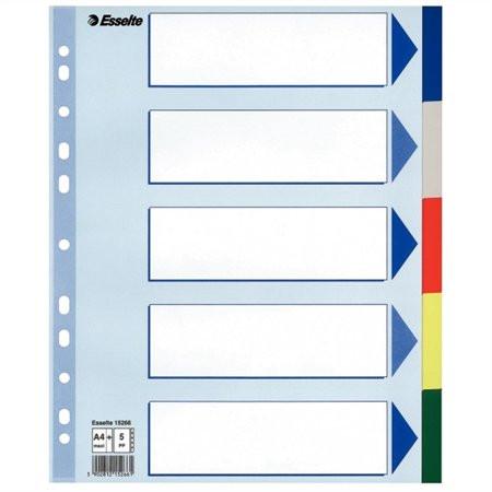 ESSELTE Regiszter, műanyag, A4 Maxi, 5 részes, ESSELTE