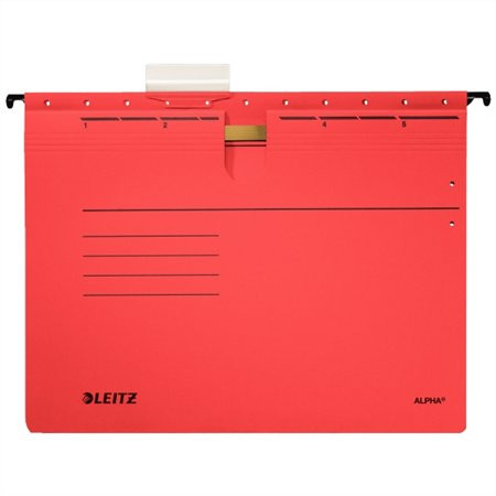 """LEITZ Függőmappa, gyorsfűzős, karton, A4, LEITZ """"Alpha"""", piros"""