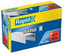 """RAPID Tűzőkapocs, 43/6, horganyzott, textil, RAPID """"Superstrong"""""""
