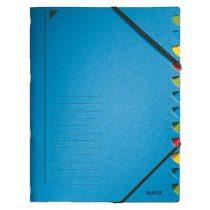 LEITZ Gumis mappa, karton, A4, regiszteres, 12 részes, LEITZ, kék