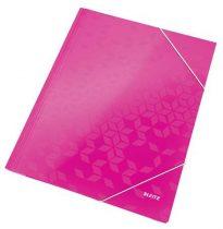 """LEITZ Gumis mappa, 15 mm, karton, A4, lakkfényű, LEITZ """"Wow"""", rózsaszín"""
