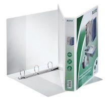 LEITZ Gyűrűs könyv, panorámás, 4 gyűrű, D alakú, 51 mm, A4 Maxi, PP, LEITZ, fehér