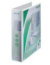 LEITZ Gyűrűs könyv, panorámás, 4 gyűrű, D alakú, 77 mm, A4 Maxi, PP, LEITZ, fehér