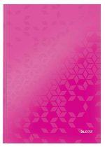 """LEITZ Beíró, A4, vonalas, 80 lap, keményfedeles, lakkfényű, LEITZ """"Wow"""", rózsaszín"""