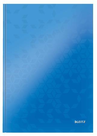 """LEITZ Beíró, A4, vonalas, 80 lap, keményfedeles, lakkfényű, LEITZ """"Wow"""", kék"""