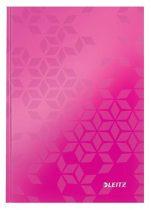 """LEITZ Beíró, A5, vonalas, 80 lap, keményfedeles, lakkfényű, LEITZ """"Wow"""", rózsaszín"""