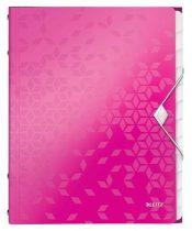 """LEITZ Előrendező, A4, 12 részes, műanyag, LEITZ """"Wow"""", rózsaszín"""