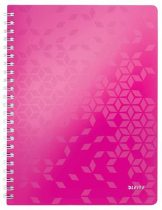 """LEITZ Spirálfüzet, A4, vonalas, 80 lap, LEITZ """"Wow"""", rózsaszín"""