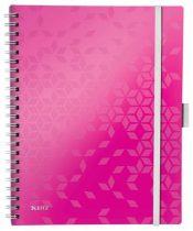 """LEITZ Spirálfüzet, A4, vonalas, 80 lap, LEITZ """"Wow Active"""", rózsaszín"""