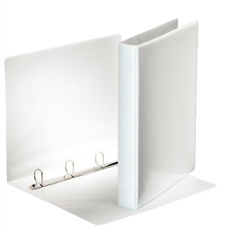 ESSELTE Gyűrűs könyv, panorámás, 4 gyűrű, D alakú, 40 mm, A4, PP, ESSELTE, fehér