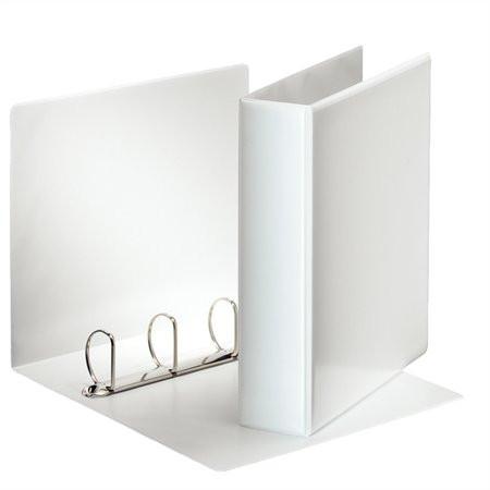 ESSELTE Gyűrűs könyv, panorámás, 4 gyűrű, D alakú, 75 mm, A4, PP, ESSELTE, fehér